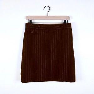 RALPH LAUREN • Brown Wool Pinstripe Skirt Size 10